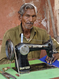 Elderly Man Sewing Outdoors, Jaipur, India Photographic Print by Adam Jones