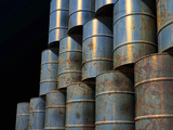 Stacked Oil Barrels Photographic Print by Victor Habbick