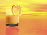 Conceptual Illustration of a Healthy Orange Juice Drink Fotografie-Druck von Victor Habbick
