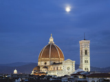 Moonrise over Florence Cathedral, Basilica Di Santa Maria Del Fiore at Dusk, Florence, Italy Photographic Print by Adam Jones