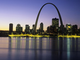 St Louis Arch and Skyline at Night Reflected on Mississippi River Photographic Print by Adam Jones