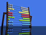 Illustration of a Colorful Abacus Reflected on a Glossy Table Top Surface Photographic Print by Victor Habbick