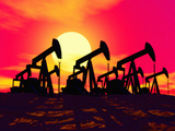 Illustration of Silhouetted Oil Wells Set Against the Deep Red Sky of a Sunrise or Sunset Photographic Print by Victor Habbick
