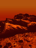 Conceptual Image of Part of the Planet Mars Surface Within the Canyons Photographic Print by Victor Habbick