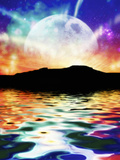 Beautiful Fantasy Evening Scene of the Moon and Stars Reflected on the Ocean Photographic Print by Victor Habbick