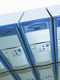 3D Conceptual Illustration of Computer Servers on a White Background Photographic Print by Victor Habbick