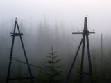 Old Power Lines in the Fog, Cherskiy, Sakha Republic, Siberia, Yakutia, Russia Photographic Print by Chris Linder
