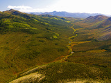 Aerial View of the Rolling Hills of the Foothills South of the Brooks Range, Alaska, USA Photographic Print by Paul Andrew Lawrence