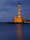 Lighhouse at Dusk, Chania, Crete, Greece Photographic Print by Adam Jones