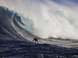 A Tow-In Surfer Drops Down the Face of Big Surf at Peahi (Jaws) Off Maui, Hawaii, USA Photographic Print by David Fleetham