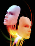 Illustration of Two Female Android Heads Suspended on Wires with Colorful Light Flares Photographic Print by Victor Habbick