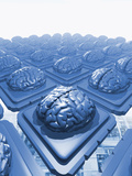 Illustration of Rows of Microchips with Brain-Like Devices Attached to Them Photographic Print by Victor Habbick