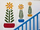Painted Design on Wall, Chora, Mykonos, Greece Photographic Print by Adam Jones