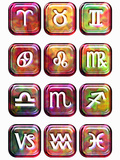 Illustration of Glossy Astrology Sign Buttons on a White Background Photographic Print by Victor Habbick