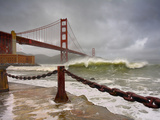 Large Storm Waves in San Francisco Bay under the Golden Gate Bridge About to Batter the Shore Photographic Print by Patrick Smith