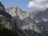 Folded Paleooic Limestone on a Mountainside, Canadian Rockies, Alberta, Canada Photographic Print by Marli Miller