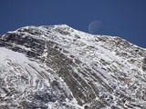 Dipping Paleozoic Strata and Moon, Yoho National Park, Canadian Rockies, British Columbia Photographic Print by Marli Miller