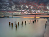Bay Bridge and Old, Weathered Pier Pilings at Sunrise, San Francisco, California, USA Photographic Print by Patrick Smith