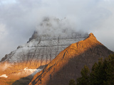 Mountain Formed by Uplifted and Eroded Sedimentary Rock at Sunrise, Glacier National Park, Montana Photographic Print by Marli Miller