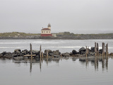 Coquille River Lighthouse at the Mouth of the Coquille River on a Foggy Day, Bandon, Oregon, USA Photographic Print by Robert & Jean Pollock