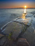 Rocky Shore of Lake of Two Mountains at Sunset, Quebec, Canada Photographic Print by Robert Servranckx