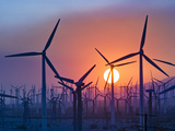 Wind Turbines Near Palm Springs, California, at Sunset Photographic Print by David Nunuk