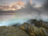 Waves Crashing on the Tilted Strata Rocks at Montana De Oro State Park Near Morro Bay, California Photographic Print by Patrick Smith