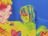 Thermogram - Child with Father Photographic Print by Chuck Swartzell