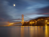 Fog and the Moon over the Golden Gate Bridge at Sunset, San Francisco, California, USA Photographic Print by Patrick Smith