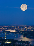 Full Moonrise over Vancouver, British Columbia, Canada Photographic Print by David Nunuk