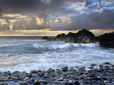Waves Battering Shore Rocks and Black Cobblestones on a Beach Near Hana, Maui, USA Photographic Print by Patrick Smith