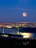 Crescent Moon over Vancouver, British Columbia, Canada Photographic Print by David Nunuk