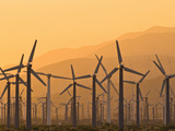 Wind Farm at Sunset on Hazy Day, Palm Springs, California, USA Photographic Print by David Nunuk