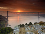 Golden Gate Bridge at Sunset under Foggy and Cloudy Skies, San Francisco Bay, California, USA Photographic Print by Patrick Smith