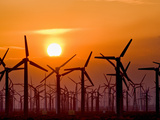 Wind Turbines at Sunset Near Palm Springs, California, USA Photographic Print by David Nunuk