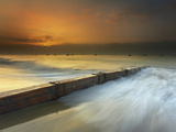 Santa Barbara Sunrise as a Thick Fog Begins to Clear, The Groyne Helps Keep The Sand in Place Photographic Print by Patrick Smith