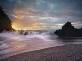 Sunset View of Waves Crashing onto Lava Rocks and the Black Sand Beach Near Hana, Maui, Hawaii Photographic Print by Patrick Smith