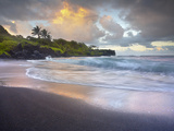 Waves Crashing onto Waianapanapa Black Sand Beach Near Hana, Maui, Hawaii, USA Photographic Print by Patrick Smith