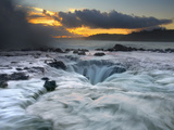 Waves Moving Over, Around, and into a Blowhole on the North Shore of Kauai at Sunrise Photographic Print by Patrick Smith