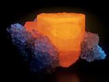 Calcite with Quartz Photographed under Short-Wave Ultraviolet (Uv) Light and Fluorescing Photographic Print by Mark Schneider