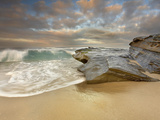 Large Waves Crashing on the Sandstone Rocks and Sandy Beach at La Jolla, California, USA Photographic Print by Patrick Smith