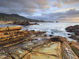 Waves Eroding the Tilted Sandstone Strata Rocky Coast Near Monterey, Central California, USA Photographic Print by Patrick Smith