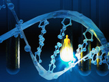 Biomedical Illustration of a Stylized DNA Molecule in Blue, Test Tubes, and a Human Likeness Photographie par Carol & Mike Werner