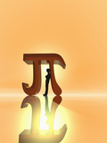 Illustration of a Boy Leaning Against a Mathematical Symbol for Pi Photographic Print by Carol & Mike Werner