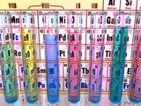 Test Tubes in Front of a Periodic Table Photographic Print by Carol & Mike Werner
