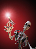 Biomedical Illustration of a Skeleton with a Syringe as an Anti-Drug Message Photographic Print by Carol & Mike Werner