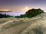 Full Moonrise at Sunset, Mt. Tamalpais, California, USA Photographic Print by Patrick Smith