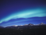 Aurora Borealis, Night Landscape Lit by a Full Moon, North America, Alaska, Alaska Range Mountains Photographic Print by Tom Walker