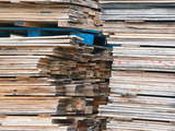 Stacked Boards at Recycling Business, Michigan, USA Photographic Print by Jeffrey Wickett