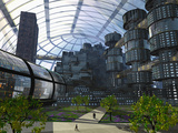 Illustration of an Enclosed City of the Future Photographic Print by Carol & Mike Werner